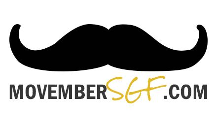 Movember - black mustache and text reads MovemberSGF.com