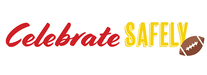 "image shows words ""Celebrate Safely"" in red and gold, with a football on the right side"